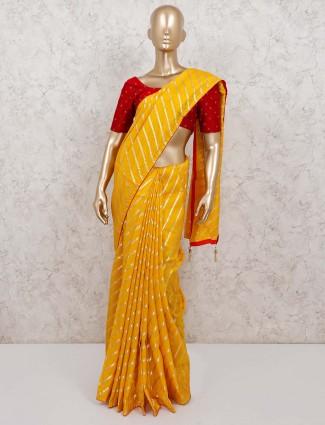 Yellow cotton silk beautiful leheriya style saree