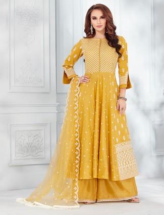 Yellow cotton silk boat neck punjabi palazzo suit