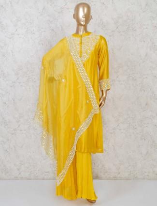 Yellow cotton silk designer punjabi palazzo suit set