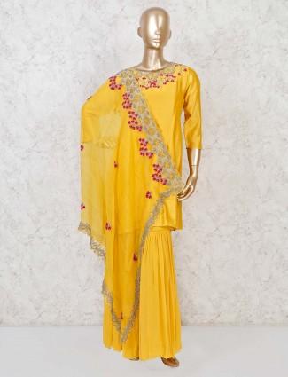 Yellow cotton silk designer punjabi sharara suit