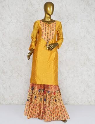 Yellow cotton silk fabric punjabi sharara suit