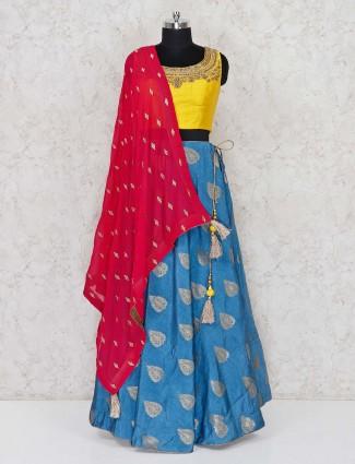 Yellow cotton silk festive occasion lehenga choli