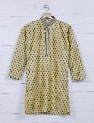 Yellow cotton silk festive wear kurta suit