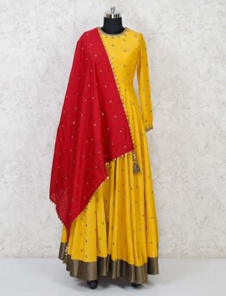 Yellow cotton silk floor length anarkali dress