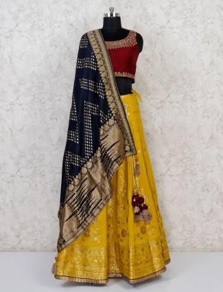 Yellow cotton silk lehenga choli for wedding
