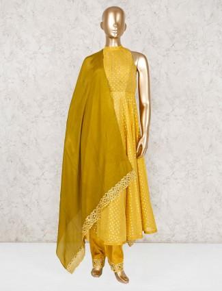 Yellow cotton silk party anarkali suit
