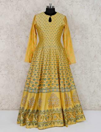 Yellow cotton silk printed anarkali suit