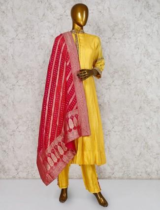 Yellow cotton silk punjabi party wear salwar suit