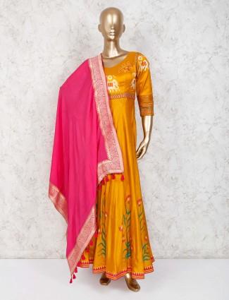 Yellow cotton silk v neck anarkali suit