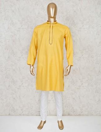 Yellow design cotton festive kurta suit