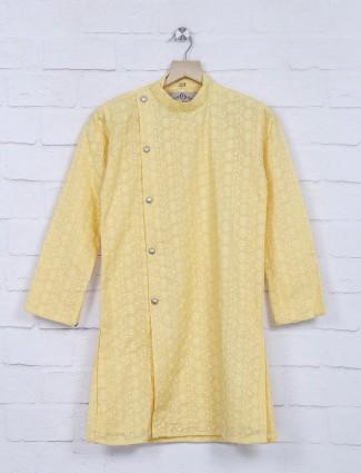 Yellow designer cotton fabric kurta suit