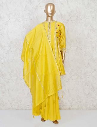 Yellow designer cotton silk punjabi sharara suit