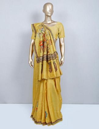Yellow designer cotton wedding saree