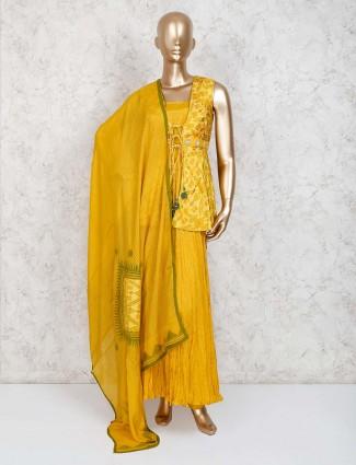 Yellow designer jecket style salwar suit