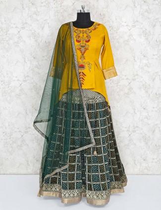 Yellow designer lehenga choli in raw silk