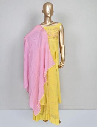 Yellow designer palazzo salwar suit in georgette
