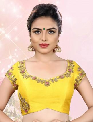Yellow designer ready made blouse