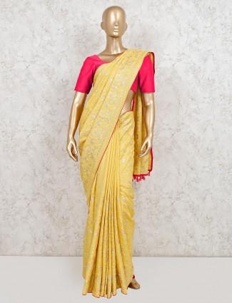 Yellow dola silk wedding special saree