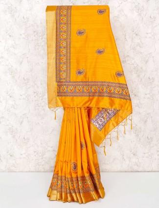 Yellow festive sari in cotton