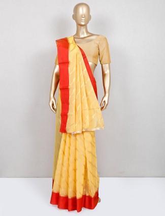 Yellow festive wear banarasi cotton silk saree for women