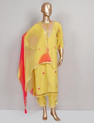 Yellow festive wear cotton pant suit