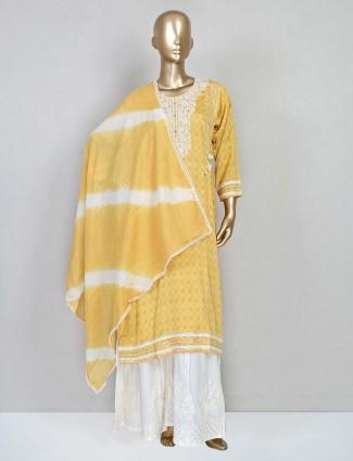 Yellow festive wear cotton sharara suit