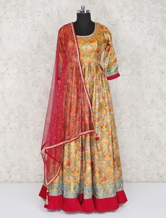 Yellow floor length pretty anarkali salwar suit in cotton silk