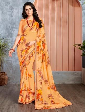 Yellow georgette beautiful printed saree