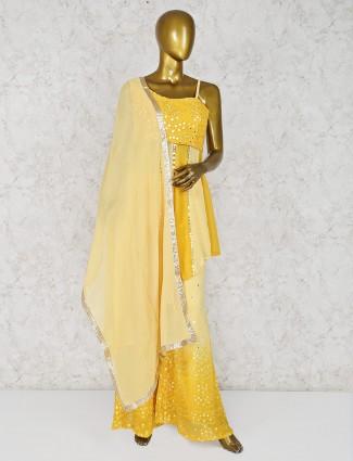 Yellow georgette designer palazzo suit