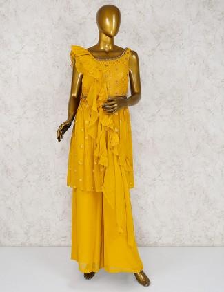 Yellow georgette fabric punjabi palazzo suit