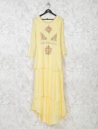 Yellow georgette festive wear kurti
