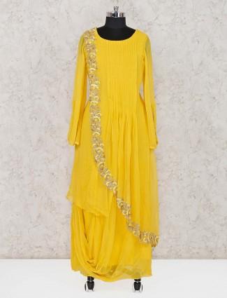 Yellow georgette festive wear salwar suit