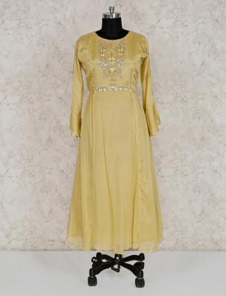 Yellow georgette round neck salwar suit