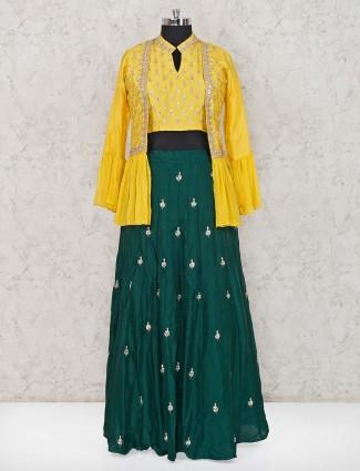 Yellow green cotton silk jecket style lehenga choli