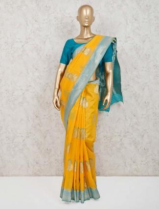 Yellow handloom cotton silk zari weaving saree
