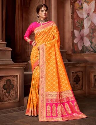 Yellow hue color saree in silk fabric