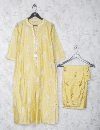 Yellow hue cottom fabric keyhole neck kurti set