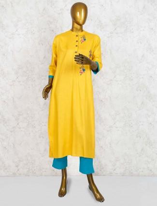Yellow hue cotton punjabi salwar suit