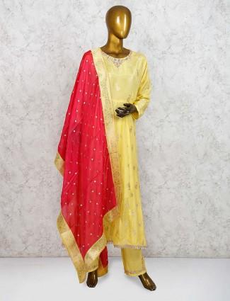 Yellow hue cotton silk festive punjabi salwar suit
