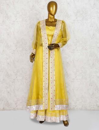 Yellow hue cotton silk jacket style punjabi palazzo suit