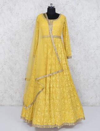 Yellow hue designer wedding wear anarkali suit
