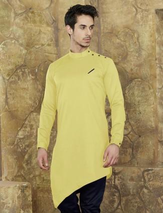 Yellow hue festive short kurta for festive
