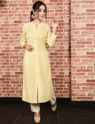 Yellow hue festive wear cotton silk kurti set