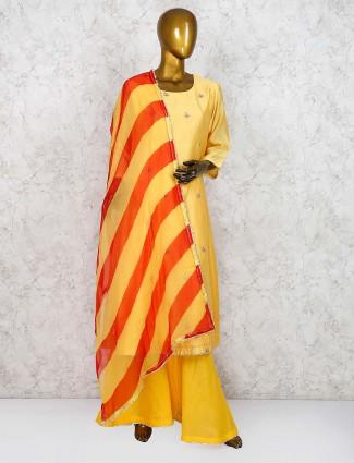 Yellow hue festive wear cotton silk punjabi sharara suit