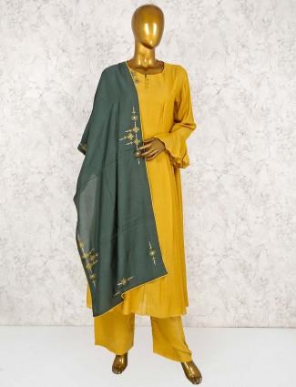 Yellow hue festive wear punjabi palazzo suit