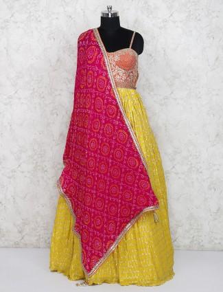 Yellow hue georgette designer long salwar suit
