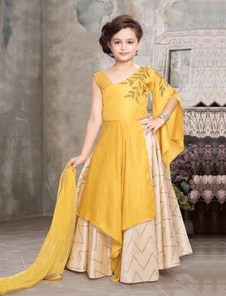 Yellow hue indo western style lehenga choli