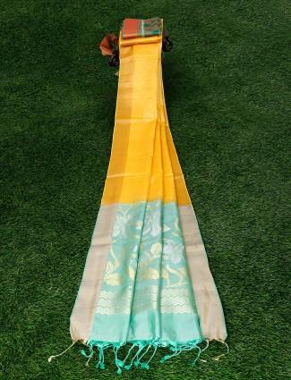 Yellow hue lovely pure silk saree