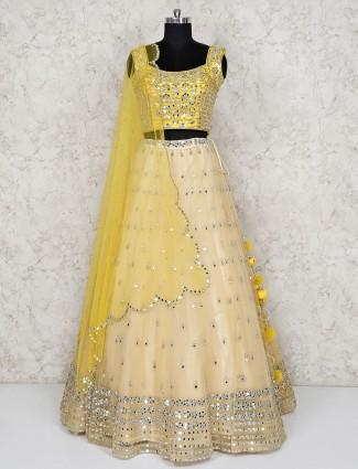 Yellow hue net beautiful lehenga choli