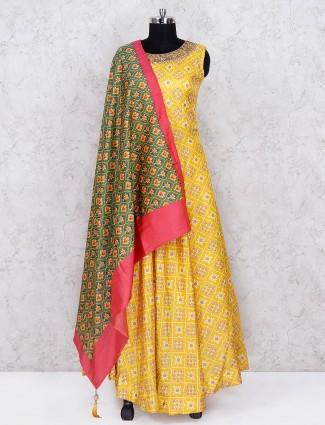 Yellow hue printed cotton silk floor length anarkali salwar suit